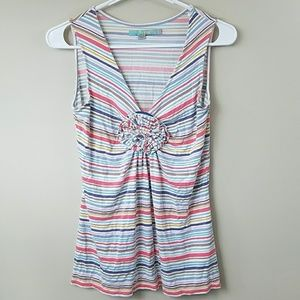 Boden Striped Floral Center Tank Top